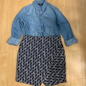 Loft navy white patterned skirt